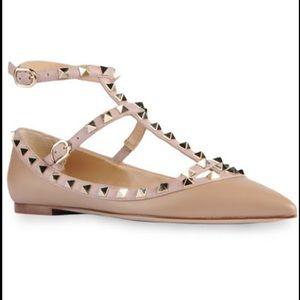 Valentino Rockstud Ankle Strap Ballerina Flats